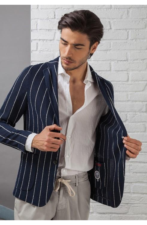 Camicia Uomo in Cotone C657_CW Fradi Bianco Beige Riga Larga