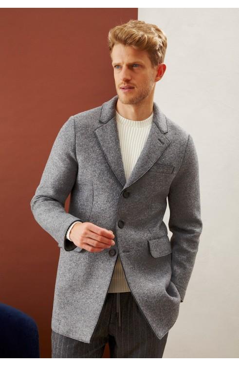 Man Overcoat in Mixed Wool...