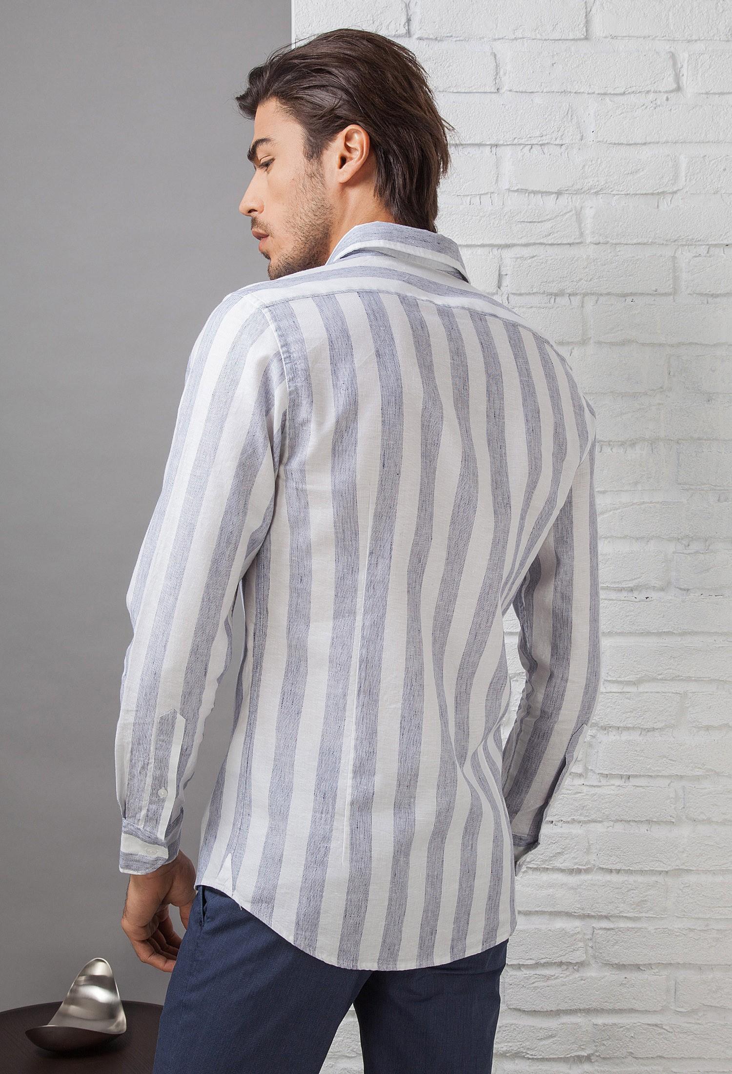 nuovo prodotto 8c54a f1503 Camicia Uomo in Lino C650_CW Fradi - Bianco - Blue Riga Larga