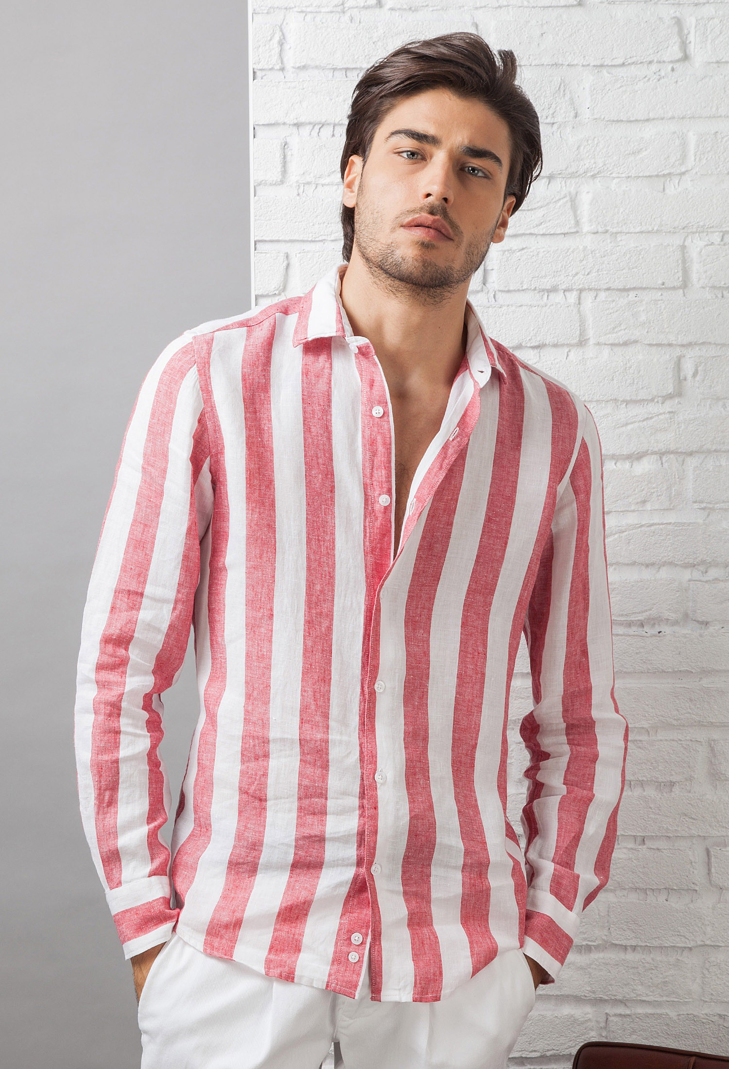 il più grande sconto qualità stabile alta moda Camicia uomo in Lino C650_CW Fradi - 70 - BIANCO/ROSSO RIGA LARGA