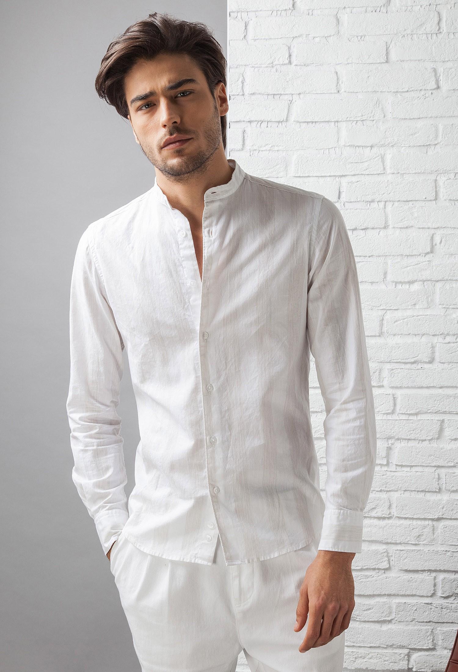 codice promozionale e35dc c45fc Camicia Uomo in Cotone C657_CW Fradi - Bianco - Beige Riga Larga